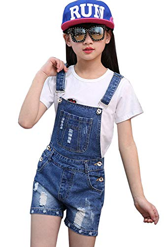 LAVIQK Girls Little Big Kids Denim Bib Overalls Jumpsuit Boyfriend Jeans Denim Romper Shortalls Blue