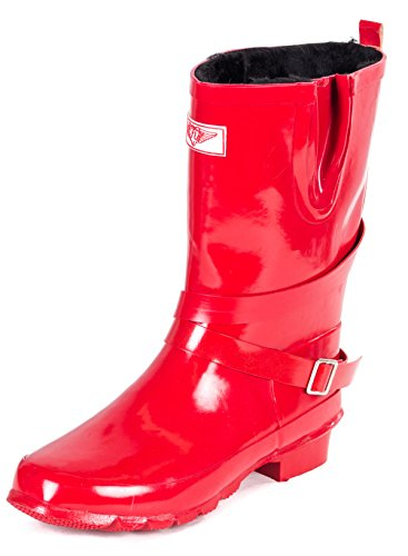 Forever Young Women Mid-Calf Faux Fur Lined Red 11-inch Rubber Rain Boots with Straps 8