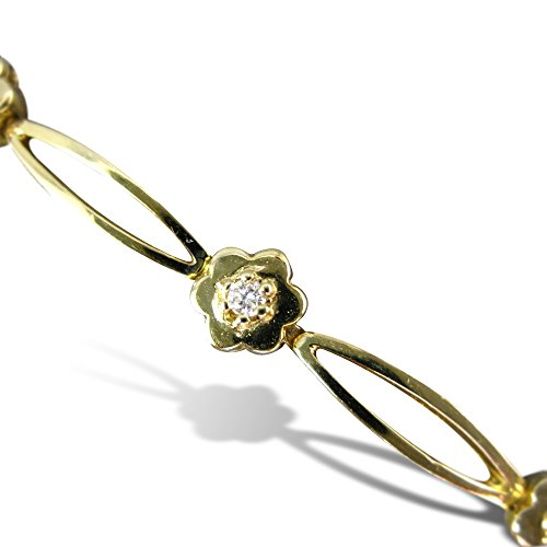 Milano Jewelers .30CT ROUND DIAMOND 14K YELLOW GOLD CLASSIC DAISY FLOWER BRACELET #10577