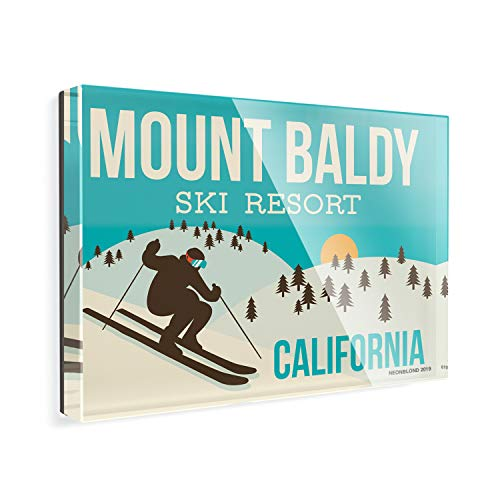 - Acrylic Fridge Magnet Mount Baldy Ski Resort - California Ski Resort NEONBLOND