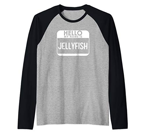 Jellyfish Costume Shirt Funny Easy Halloween Hello My Name Raglan Baseball Tee -
