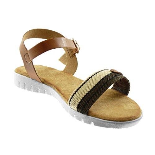 Angkorly Damen Schuhe Sandalen - Knöchelriemen - Sneaker Sohle - Bi-Material - Tricolor - String Tanga - Schleife Keilabsatz 2 cm Camel