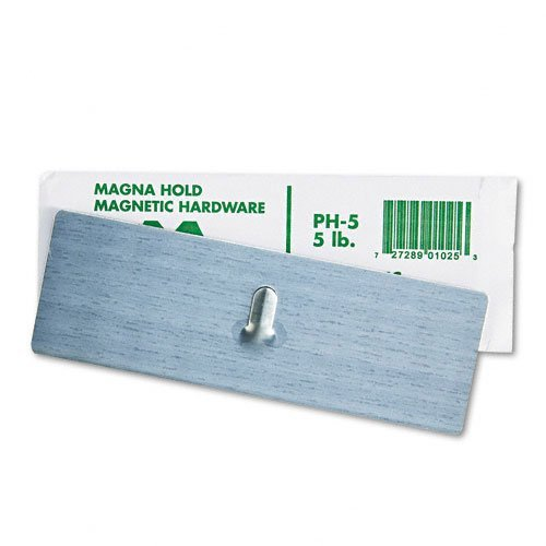 Magna Visual Products - Magna Visual - Magnetic Picture Hanger, 2 x 6, 5-lb Capacity, Steel Hook, Satin Steel Finish - Sold As 1 Each - Magnetic picture hanger with simple magnetic plate. - Attaches to metal surface to hang pictures, calendars, chart boards and much more. - Satin steel finish will not damage cabinets.