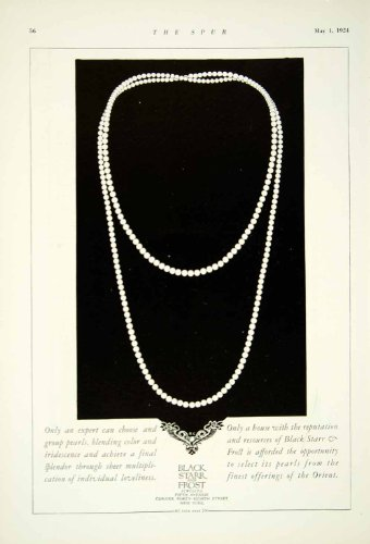 1924 Ad Black Starr Frost Jewelry Pearl Necklace Fifth Avenue 48th St New York - Original Print - 5th And 48th