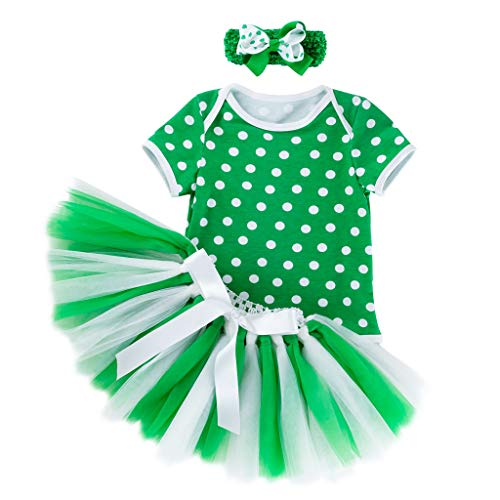 Hot Sale! 3Pcs Toddler Baby Girls St. Patrick's Day Short Sleeve Dot Romper+Tutu Skirt Party Princess Outfits Set (12-18 Months, -