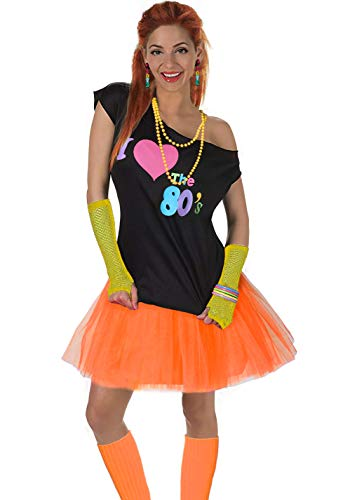 Women's I Love The 80's T-Shirt 80s Outfit Accessories(S/M,Yellow)
