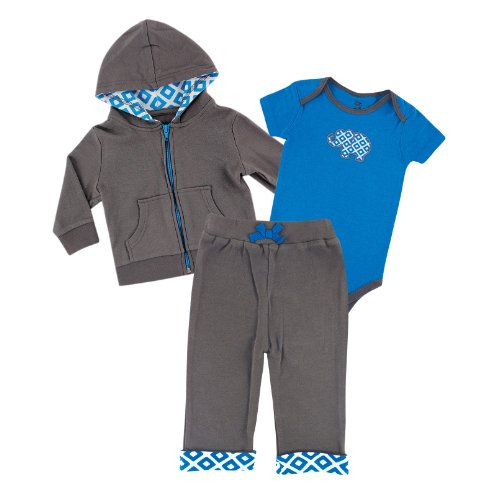 Yoga Sprout Baby-Boys 3 Piece Turtle Hoodie Bodysuit and Pant Set, Blue Elephant, 12-18 Months