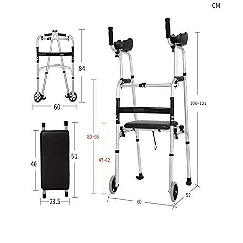 XIHAA Elderly People Walker Height Adjustable Folding Aluminum Alloy Pulley Disabled Person Walking Rehabilitation Equipment Bathroom Bath Chair(Dual Wheeled)