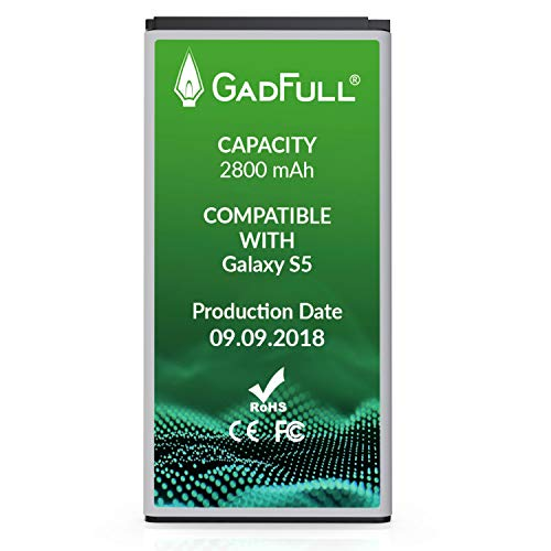 GadFull Battery Compatible with Samsung Galaxy S5   2018 Production Date   Corresponds to The Original EB-BG900BBE EB-BG900   Compatible with Galaxy S5 SM-G900F