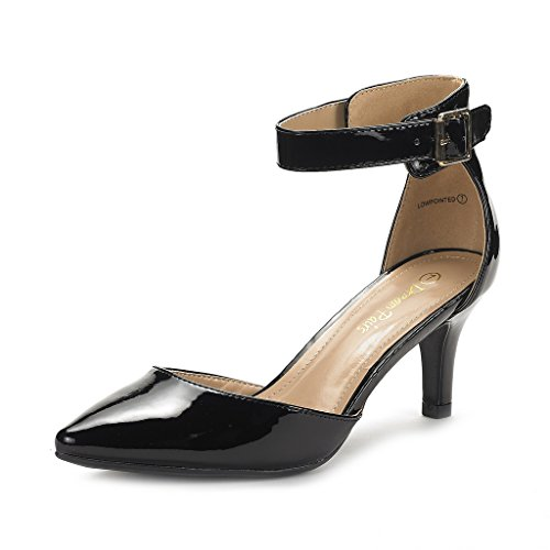 DREAM PAIRS Women's Lowpointed Black Pat Low Heel Dress Pump Shoes - 6.5 M US (Platform Black Pat Shoe)