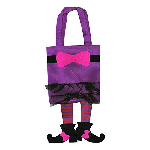 Halloween Trick or Treat Bags Kids Toddler with Carry Straps (Witch) -