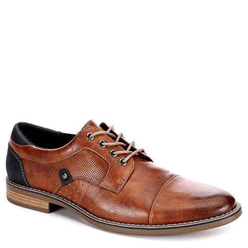- Restoration Mens Justin Lace Up Cap Toe Oxford Shoes, Cognac, US 12