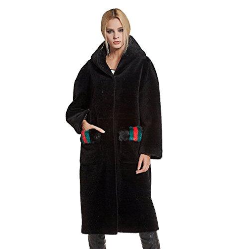 Fur Story Women's Long Real Lamb Shearing Fur Coat Thick Warm Coat with Hood US6 (Black)