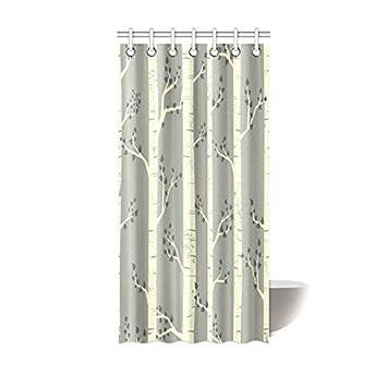 Schon Baum Decor Vorhang Für Die Dusche, Elegante Birke Baum Zweige Modernes  Vintage Style Illustration Der