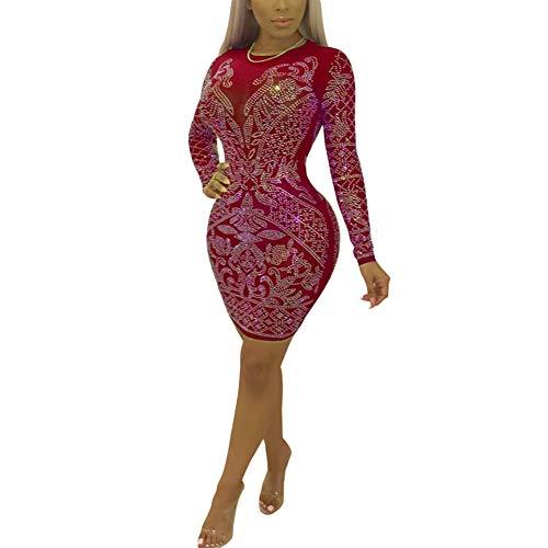 Aro Lora Women's Sexy Sequin Rhinestone See Through Round Neck Bodycon Mini Club Dress Small Red ()