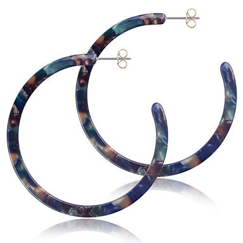 Acrylic Hoop Earrings for Women Hypoallergenic Geometric Tortoise Shell Acetate Statement Girls Earring