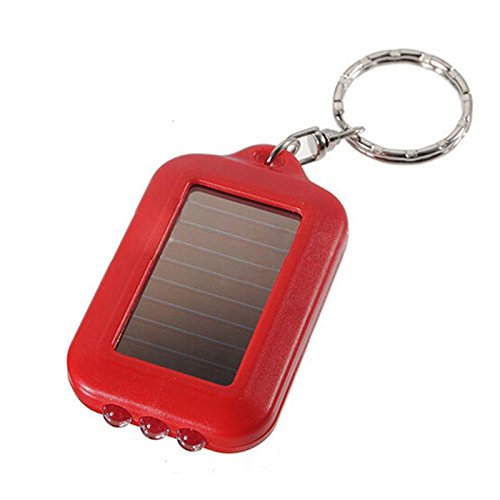 BESTIM INCUK Small Lightweight 3 LED Solar Power Flashlight Torch Lamp Keyring with Key Chain