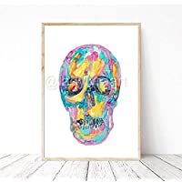 Skull skeleton rainbow halloween death Painting Wall Poster Watercolor Art Print Medical Anatomy