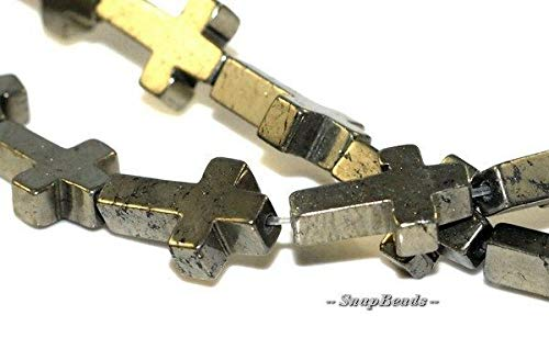 Cross Palazzo Iron Pyrite Gemstone Cross 15X10MM Loose Beads 7