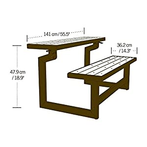 Wood Grain Convertible Bench Rust-Resistant All-Weather Fnish (Convertible Bench Picnic Table) Made with Polystyrene, Powder-Coated Steel, Recycled Plastic in Brown Color 55.5L x 14.25W in.