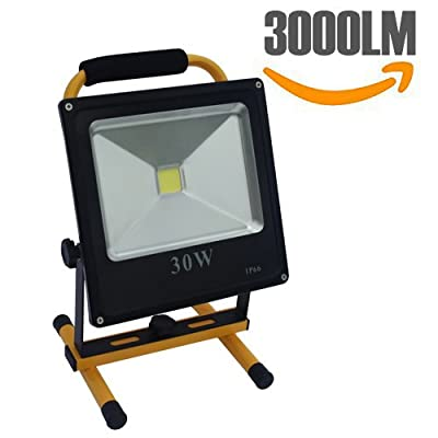 Spotlights 30W LED Outdoor Work Lights Camping Lights,Rechargeable IP66 Waterproof Portable Camping Emergency Lights Floodlight With Built-in Rechargeable Lithium Batteries[Energy Class A+++]