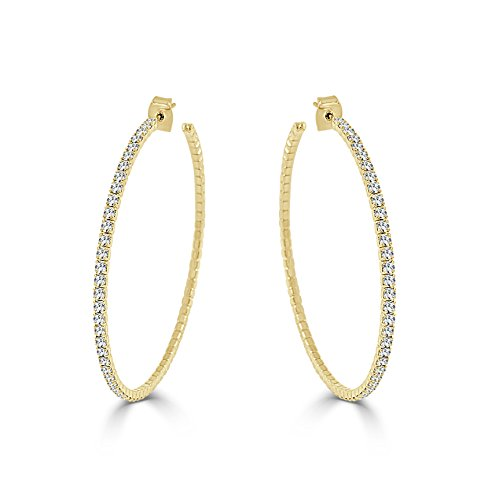 Sabrina Designs Lightweight Crystal 14K Gold Plated Hoop Earring, LARGE -2.25