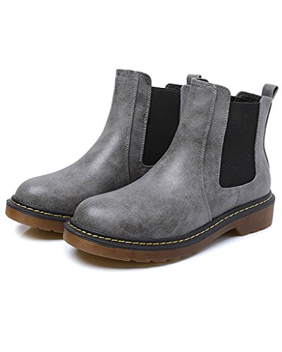 Minetom Slip Gris Chelsea Mode Bootie Heel Femmes Chaussure Rond Moto Bottine Bout On Boots Low xwv6x4rqfp