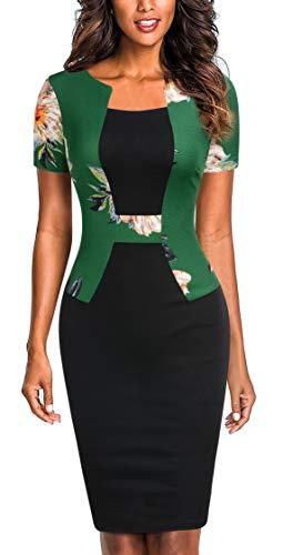 Mmondschein Women's Short Sleeve Colorblock Sheath Pencil Business Church Dress Green Flower S ()