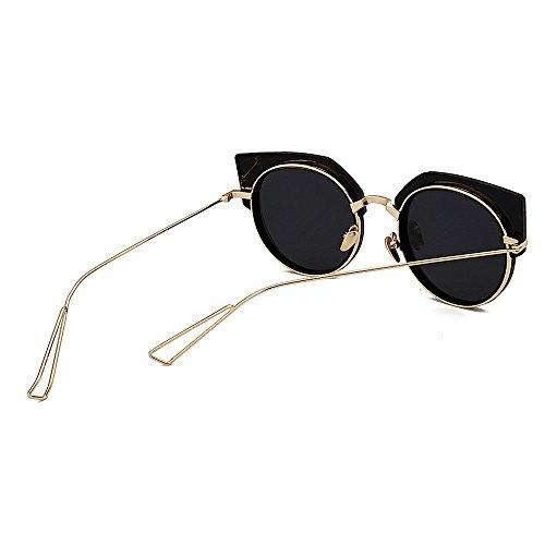Vacaciones rebordes Playa Gu exquisitas de para Gato Sol Rosado Las Peggy Color de Gafas de Conducir Negro del de los Ojos Semi Protección Verano sin Ultravioleta Las la para Mujeres w01qIS