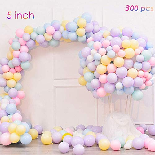 Borang 5 Inch Mini Pastel Latex Balloons 300pcs Assorted Macaron Candy Colored Latex Party Balloons for Wedding Birthday Baby Shower Party Decor Supplies Arch Balloon -