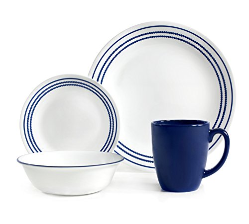Jett Set - Corelle Livingware 16 Piece Set Jett Blue, Service for 4, includes 4each of 10.25 inch Dinner Plates, 6.75 inch Bread and Butter Plates, 18ounce Soup/Cereal Bowls, 11 ounce Stoneware Mug