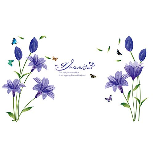 - WMdecal Removable Large Lily Flower Wall Vinyl Decals for TV Wall Easy to Apply Peel and Stick Wallpaper Art Stickers for Living Room (Purple)