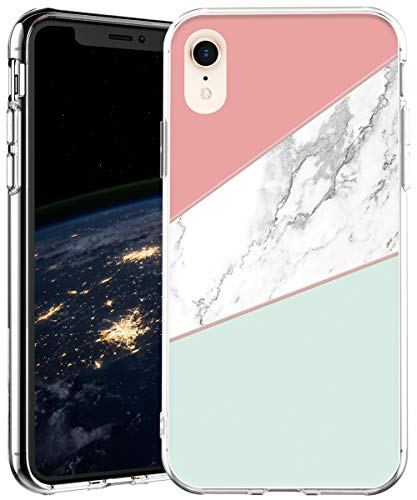 iPhone XR Case,IN4U Hard Back Flower Design Raised Edge Transparent Anti-Shock TPU Bumper Cover 6.1 Inch iPhone XR Case (Marble Abstract Geometry)