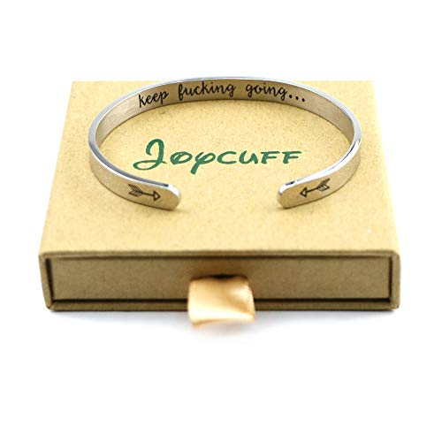 Joycuff Personalized Bracelets for Women Inspirational Cuff Bangle Silver Jewelry Gift for Friends Teen Mantra Keep Fking Going (Inner Engraved)