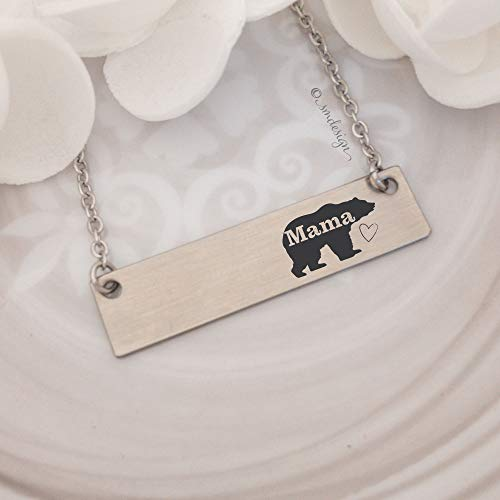 Mama Bear Bar Necklace - Gifts For Mom For Birthday Valentine's Day Anniversary Gift Idea Jewelry Wife