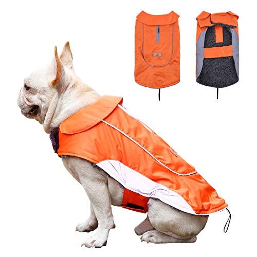 Pet Charm Dog Vest Waterproof Dog Rain Coat Windproof Winter Dog Jacket Warm with Reflective Strip Dog Sweater for Small Medium Large Dogs Puppy Orange M