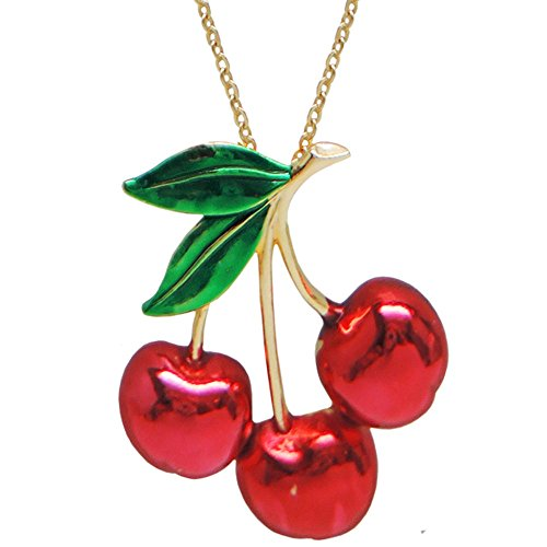 (GIRLPROPS Vintage Cherry Necklace by Jonette Jewelry, Signed Jj On 18