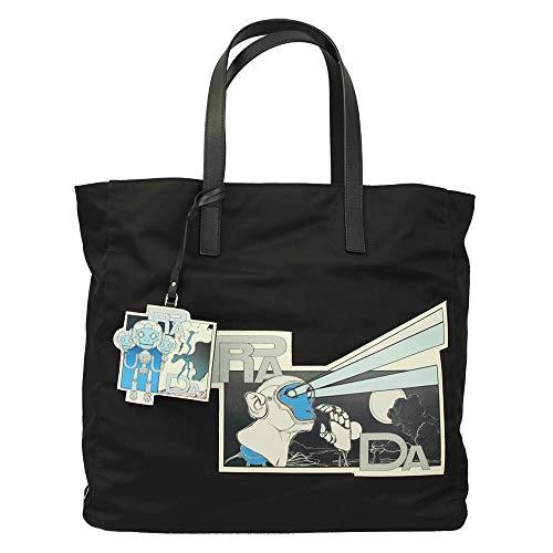 (Prada Comic Black Nylon Tote Shopping bag 2VG019)
