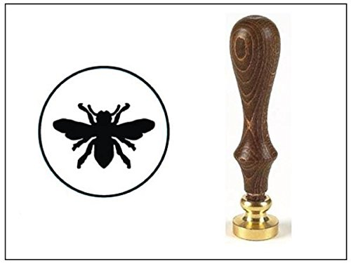 wax-seal-stamp-with-brown-wood-handle-and-round-die-bee