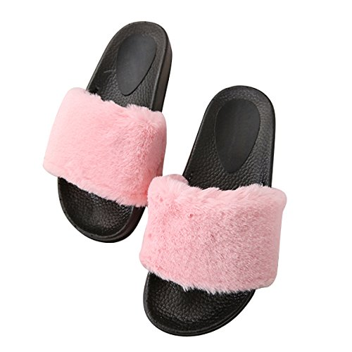 Caro Tempo Pantofola In Pelliccia Ecologica Donna Infradito Morbido Infradito Su Sandali Flat Plus Size Rosa