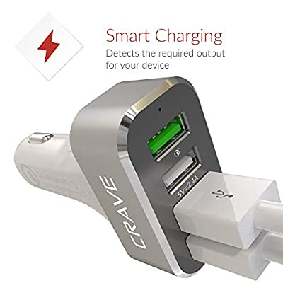 Crave CarHub 54W 4 Port USB Car Charger, Qualcomm Quick Charge 3.0 - White
