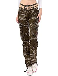 Women's Cotton Casual Camouflage Cargo Pants Multi Pockets Outdoor Military Cargo Jeans