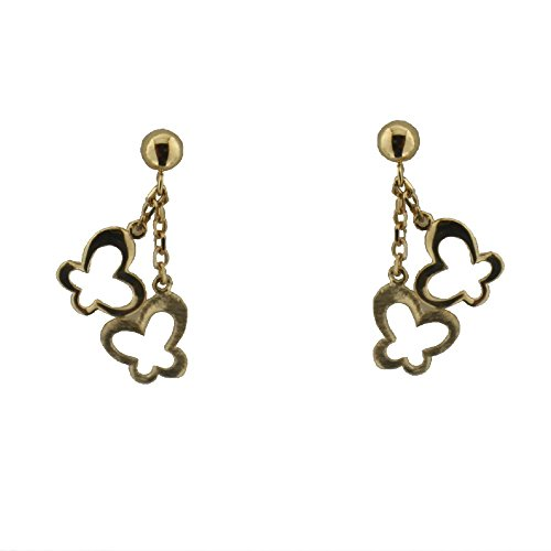 18K Yellow Gold Polished Butterfly and Satin Butterfly Dangle Post Earrings L.0.75 inch by Amalia