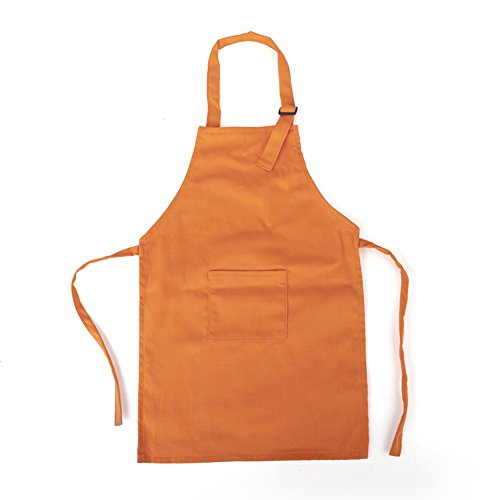 Opromo Colorful Cotton Canvas Kids Aprons with Pocket, Artist Apron & Chef Apron(S-XXL)-Orange-S