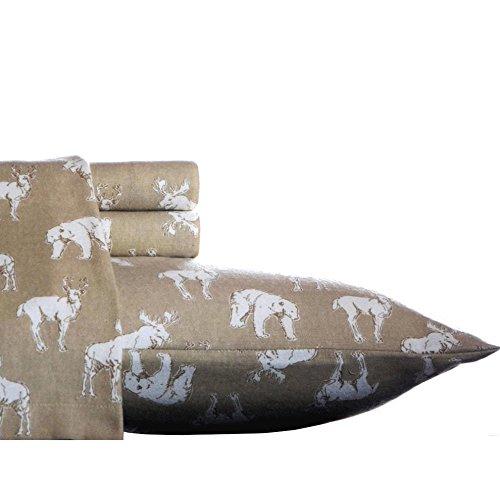 3 Piece Rustic Light Brown Twin Xl Buckhead Ridge Themed Deep Pocket Sheet Set, White Moose Bear All Over Printed Safari Pattern Teen Bedding Kids Bedroom Luxurious Colorful, Cotton (Pocket For Safari)
