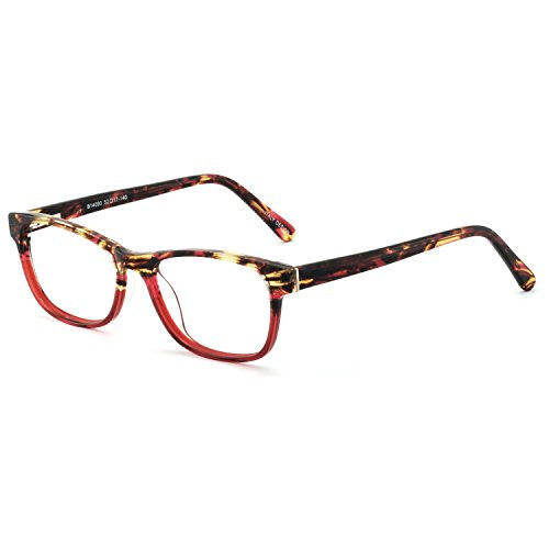 (OCCI CHIARI Rectangle Stylish Non-prescription Optical Women Eyewear Frame With Clear Lens (4090-Red(Anti-Blue light)))