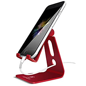 Adjustable Cell Phone Stand, Lamicall Phone Stand : [Update Version] Cradle, Dock, Holder Compatible with iPhone Xs XR 8 X 7 6 6s Plus SE 5 5s 5c Charging, Accessories Desk, Android Smartphone – Red