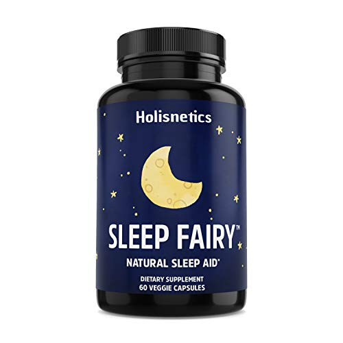 SLEEP FAIRY Natural Sleep Aid - Non-Habit Forming - Stress, Anxiety & Insomnia Relief Supplement - Herbal Sleeping Pills for Adults with Valerian Root, L-Theanine, Chamomile, Melatonin, 60 Vegan Caps