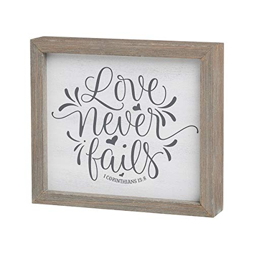Collins Painting 'Love Never Fails' Wood-Framed Box Sign -