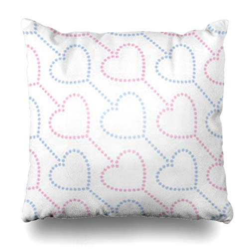 GisRuRu Throw Pillow Covers Wedding Pattern Pink Blue Hearts Garlands in Dotted Valentines Day Beads Abstract Family Love Home Decor Sofa Pillowcase Square Size 20 x 20 Inches Cushion Cases